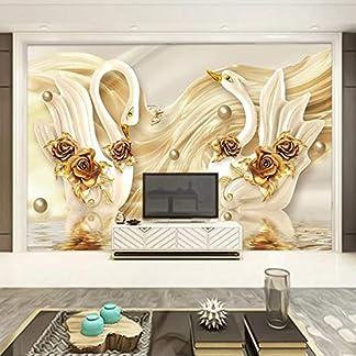 MuralXW Carta da Parati in 3D Cigno d'oro Rosa Fiori Gioielli Foto Parete murale Soggiorno TV Divano Sfondo Muro Decorazioni per la casa Sfondi-450x300cm