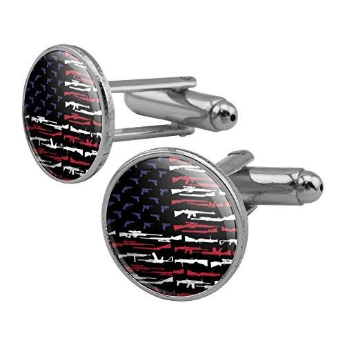 GRAPHICS & MORE American Gun Flag USA Second 2nd Amendment Round Cufflink Set Silver Color