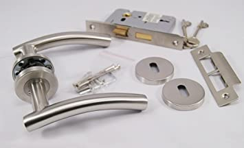 Arched T Bar Lever Door Handle On Rose, Satin Stainless Steel ...