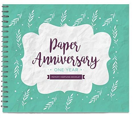 Unique 1st Wedding Anniversary Memory Book with Stickers and A Matching Card - Special Memory Journal Gift for Your Paper Anniversary - The Perfect Keepsake Booklet for Couples - Husband & Wife Gifts