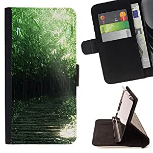 DEVIL CASE - FOR Apple Iphone 5 / 5S - Nature Green Forrest - Style PU Leather Case Wallet Flip Stand Flap Closure Cover