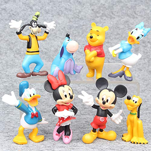 ATII Mickey Mouse Collectible Set Toy Figures | for Cake Topper Cake Decoration | As Model to Decorate The Car House or Desk (8PCS)