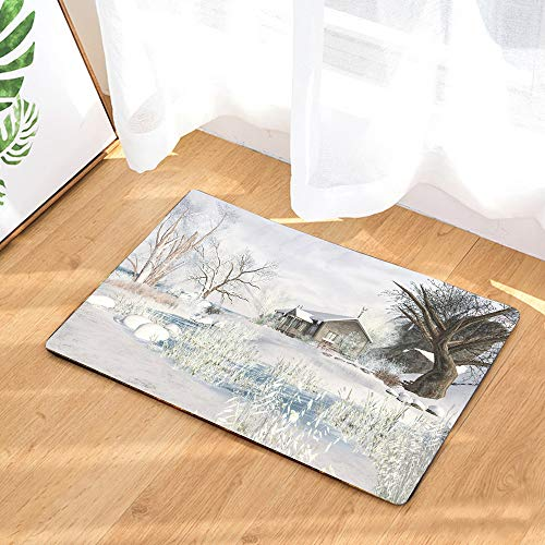 Winter Snow Scene Area Rug Home Decorative Rug White Home Decor Carpet Indoor Rectangle Doormat Kitchen Floor Mat 15
