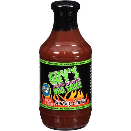 Guy's Award Winning Sugar Free BBQ Sauce, Smokey Garlic, 18 Oz (Low Carb Bbq)