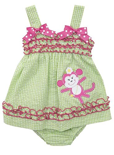 (Rare Editions Baby Girls Checked Seersucker Monkey Dress, Lime, 18M)