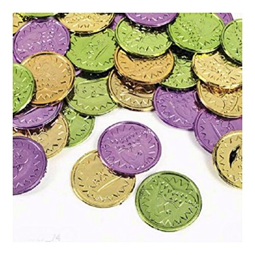 36 MARDI GRAS Party Favor PLASTIC Metallic COINS by Unbranded