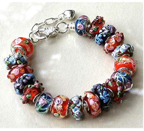 - Red and Royal Blue Lampwork Flower Murano Glass Bead Bracelet