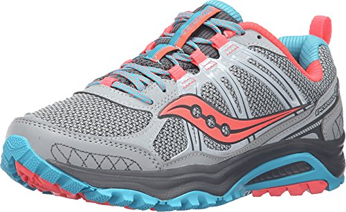 Saucony Women's Grid Excursion Tr10 Trail running Shoe, Grey/Blue/Combo, 6 M US