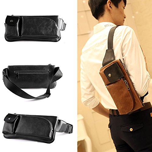 Hiking Retro Hasp Style Backpack Casual Phone Waist Chest Black Shoulder Bag PU Leather Bag Outdoor with Crossboby Bum Sport Zipper qOpnPTt