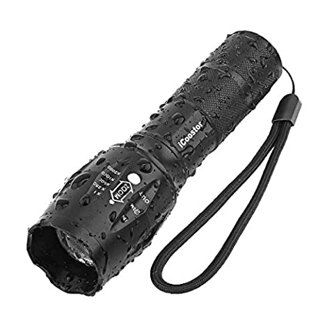 Tactical Flashlight iCoostor T6 Handheld LED Torches Flashlight Super Brightness Waterproof Taclight As Seen On Tv5 Modes Zoomable Focus For Outdoor - Ar 15 Tactical Flashlights