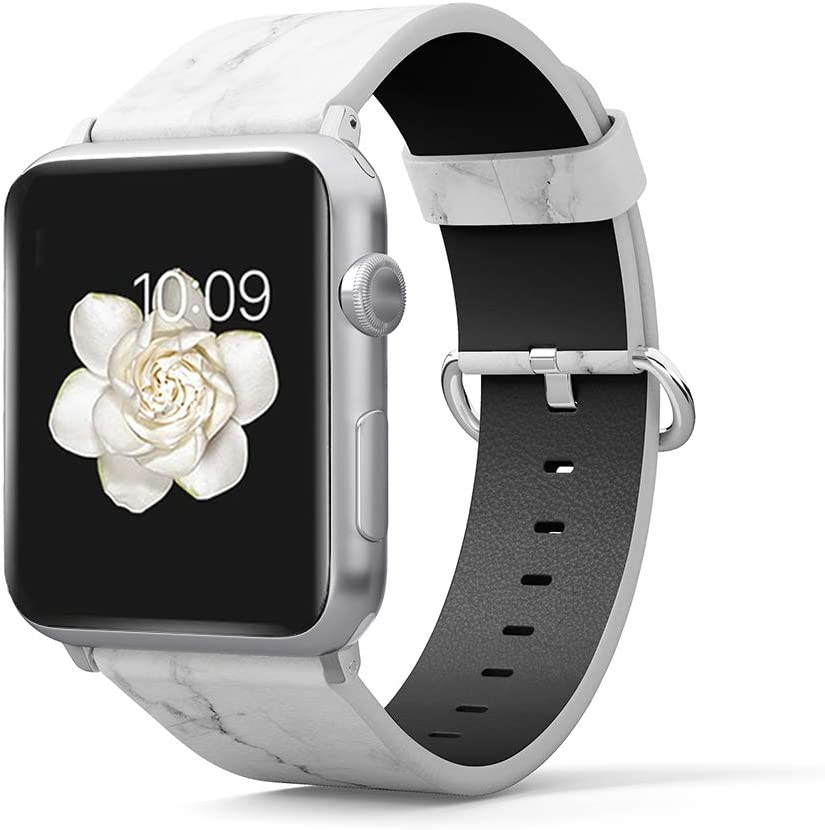 PU Leather Band Compatible for iWatch 38mm 40mm Printed Replacement Wristband for Women Girls Apple Watch Band Smartwatch Series 5 4 3 2 1 Version (White Marble, 42mm/44mm)