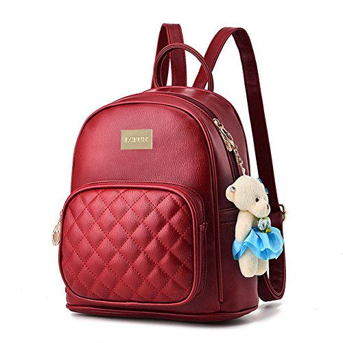 Casual Satchel - Women Leather Backpack Purse Satchel School Bags Casual Travel Daypacks Wine Red for Girls