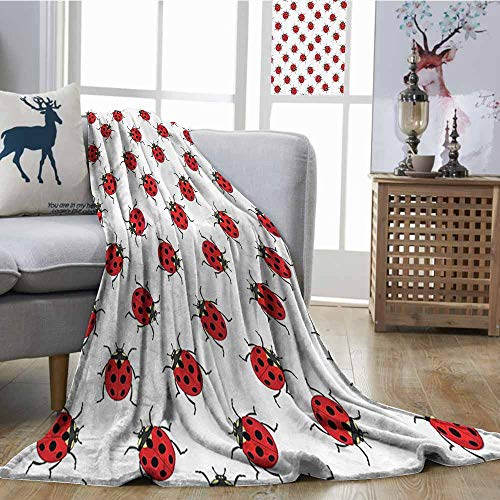 (Zmcongz Beach Blanket Ladybugs Decorations Ladybugs Pattern Bunch of Bugs Infinite Speckled Marked Insect Theme Playroom Kids All Season Blanket W51 xL60 Red White)