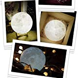 Glumes Lighting Night Light|LED 3D Printing Moon Lamp|Warm and Cool White Dimmable Touch Control|Brightness with USB Charging|Rechargeable Home Decorative Light|Good Gift for Kids/Friends/Family-American Warehouse Shipment (10cm)