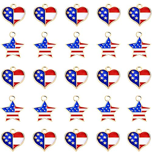 Mayam 50 Pieces American Flag Charms Pendant Patriotic Enamel Charms for 4th Independence Day Ornament of July DIY Decoration Jewelry Making (Style 1 and 2) ()