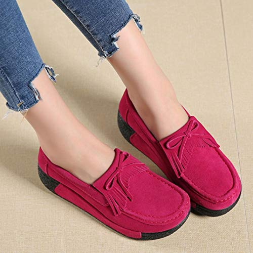 Women Comfortable Hot Flat Fashion Breathable Sports Shoes Shake Shoes Leisure Head FALAIDUO Tassel Round Pink 5q8AO