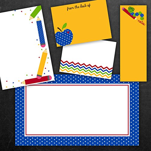 Adhesive Note Set - School Adventures Teacher Adhesive Sticky Note Pack - 5 pads - 50 sheets / pad