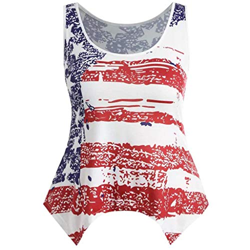 (Stripe Print Vest Women Sleeveless T-Shirt Tops Star American Flag Independence Day Tops MEEYA White)