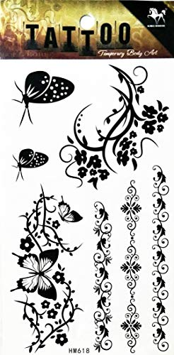 (PP TATTOO 1 Sheet Body Art Butterfly Vines Flowers and Insects Cartoon Temporary Tattoo Sticker Vintage Fake Tattoo The Flash Children Stickers 3D Tattoos Sticker )