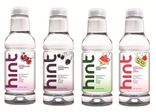 Hint Water Variety Pack, (Pack of 12) 16 Ounce Bottles, 3 Bottles Each of: Watermelon, Blackberry, Pomegranate, and Strawberry-Kiwi, Unsweet Water with Zero Diet Sweeteners