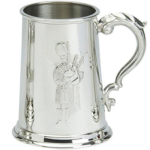 Scottish Gift For Men 1pt Embossed Piper Tankard Ornate Handle Ideal Gift