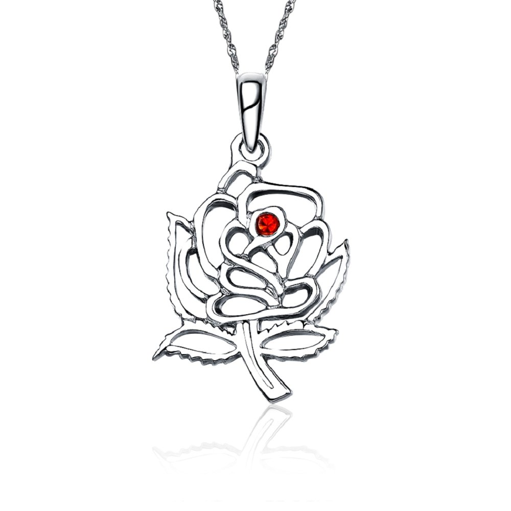 DZ-M007 Delta Zeta Necklace with a 18 Silver Chain Rose