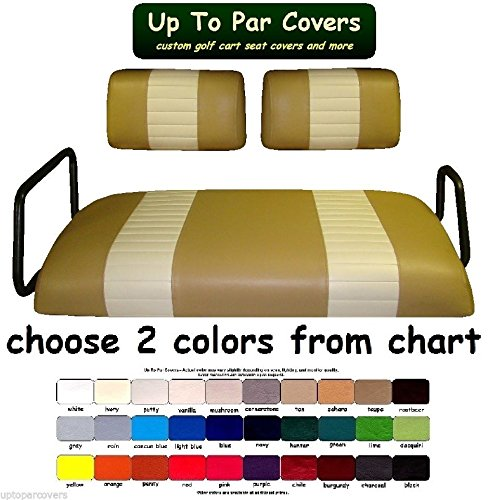 Yamaha G-11, 14, 16, 19, 20, 21, 22 Custom Golf Cart Front Seat Cover Set PLUS Rear Seat Cover Set Combo - TWO STRIPE STAPLE ON by Up To Par Covers