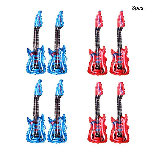 Huture 8PCS 33'' Guitar Inflatable Balloons Balloon Inflatable Rock Guitar Rock Guitar Toy Rock Star Inflatable Guitar Children Party Accessories Inflatable Guitar Toy Blue Red(4pcs per color)]()