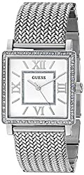 Guess Women's U0826l1 Dressy Silver-tone Watch With White Dial, Crystal-accented Bezel & Mesh G-link Band