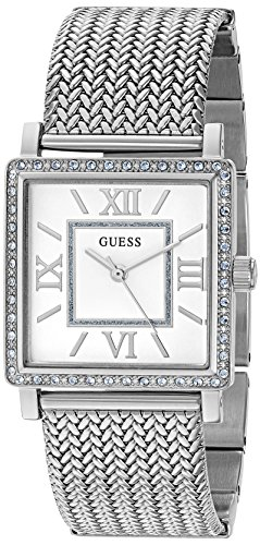 GUESS Women's U0826L1 Dressy Silver-Tone Watch with White Dial , Crystal-Accented Bezel and Mesh G-Link - New Guess Arrivals