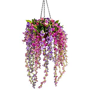 Mixiflor Artificial Wisteria Hanging Flower, Hanging Basket Silk Flower Wisteria Garland Vine for Home Outdoor Decoration 120