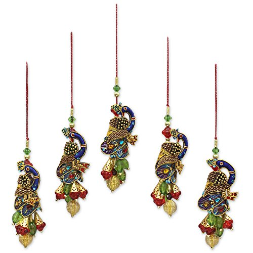 NOVICA Hand Beaded Multi-Color Christmas Holiday Ornaments, Mughal Peacocks' (set of 5), Handmade in India