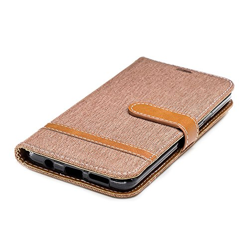 Grandcaser Funda para Samsung Galaxy S9 Plus,Double Layer Protectora Funda Suave Stitch Denim Leather Cuero Libro Flip Estuche de Silicona Bumper Flexible Cover Carcasa - Verde Marrón