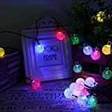 EKIND Solar Outdoor String Lights 19.7ft 30 LED Warm White Crystal Ball Solar Powered Globe Fairy Lights for Garden Fence Path Landscape Decoration (30 LED Color)