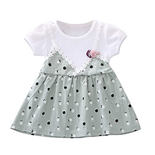 cb1d003d2174 Amazon.com: TnaIolral Newborn Kids Baby Dresses Girls Short Sleeve Print  Princess Party Pageant Tutu Clothes: Clothing