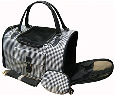 Houndstooth Print Tote Pet Dog Cat Carrier/Shoulder Purse With Matching Treats Purse Travel Airline Bag Black/White from Mpet