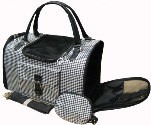 Houndstooth Print Tote Pet Dog Cat Carrier/Shoulder Purse With Matching Treats Purse Travel Airline Bag Black/White -