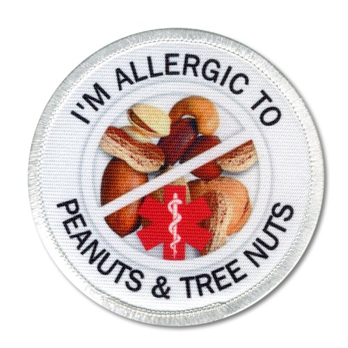 allergic-to-peanuts-tree-nuts-medical-alert-symbol-3-inch-white-rim-sew-on-patch
