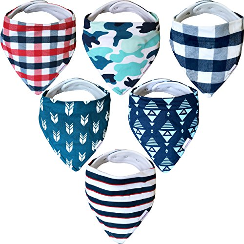 Baby Bandana Drool Bibs - 6 Pack Gift Set for Boys, Organic Cotton, 3 Snaps To Fit All Neck Sizes, Soft, Extra Absorbent, Easy To Clean, Perfect Baby Shower Gift Set
