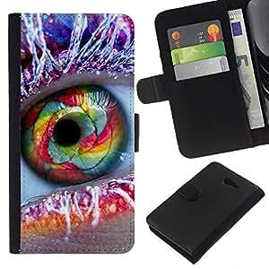 KingStore / Leather Etui en cuir / Sony Xperia M2 / Ojo del arco iris de Frost pluma Maquillaje Moda