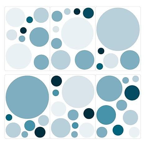 dekodino® Pegatina de pared puntos petróleo círculos set ...