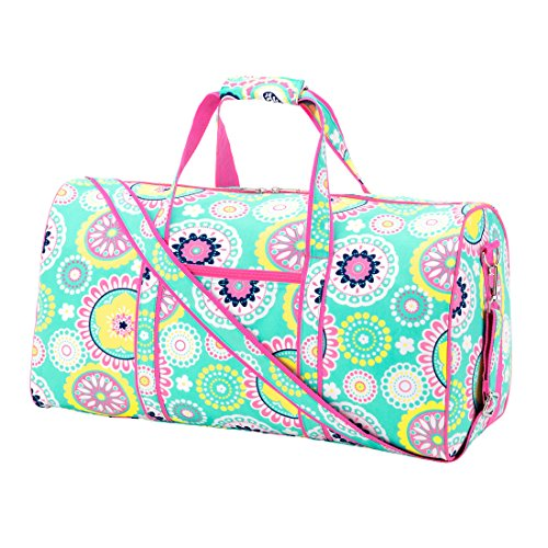 Custom Personalized 21 in Print Duffle, Overnight, Carry On Bag with Outside Pocket and Shoulder Strap (21 inch blank, Aqua Bursts - (Kids Customs)
