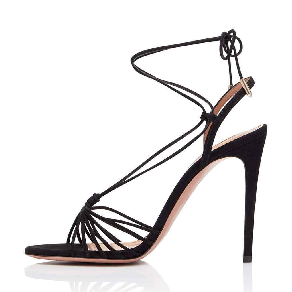 女性黒セクシーな薄いベルトハイヒールファッションサンダルオープントゥサンダル宴会結婚式の靴