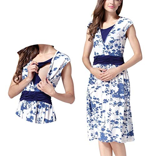 Forthery Women Sleeveless Layered Floral Print Nursing Pregnanty Maternity Dress For Breastfeeding with Belt(Blue,M=US 6) -