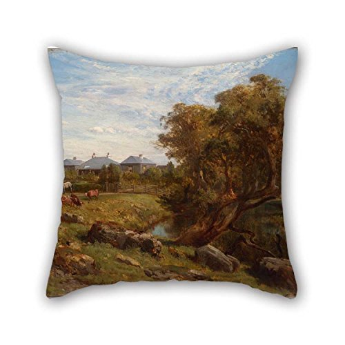 Oil Painting Louis Buvelot - Terrinallum House And Emu Creek From Near The Lower Garden Gate Throw Pillow Covers 16 X 16 Inches / 40 By 40 Cm Gift Or Decor For Teens Boys Kitchen Gf Car Seat Outdo