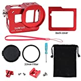 SUREWO CNC Aluminum Alloy Protective Housing Case Aluminium Frame Shell with 52mm UV Filter & Lens Cap and Hot Shoe for Gopro Hero 6 5 Black (Red)