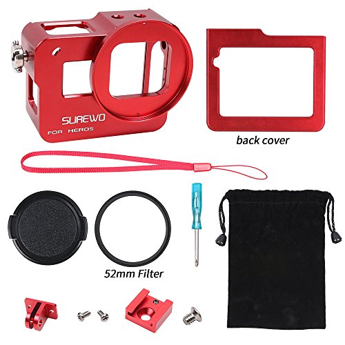 SUREWO CNC Aluminum Alloy Protective Housing Case Aluminium Frame Shell with 52mm UV Filter & Lens Cap and Hot Shoe for Gopro Hero 6 5 Black (Red) by SUREWO