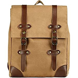 Fashion Women Men Vintage Double Shoulder Backpack Washed Canvas Daily Large Capacity Laptop Rucksack Bag with Genuine Leather for School Sport Travel s922 (Color : Brown, Size : S)
