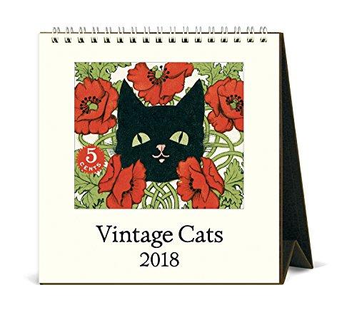 Cavallini Papers & Co. 2018 Vintage Cats Desk Calendar