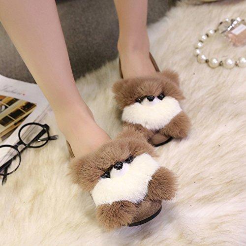 Y-Hui cotone d'inverno pantofole scarpe piatte Pattini di slittamento Piselli primavera,39 Standard codice,caffè (Cubs)